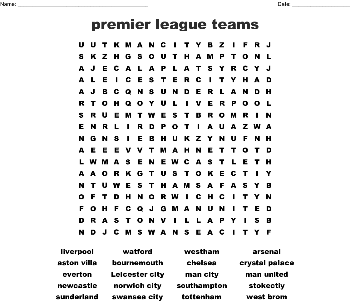 Premier League Clubs: Leadership And OD Word Search