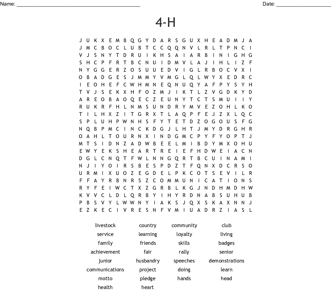 photograph relating to 4-h Pledge Printable titled 4-H Term Look - WordMint