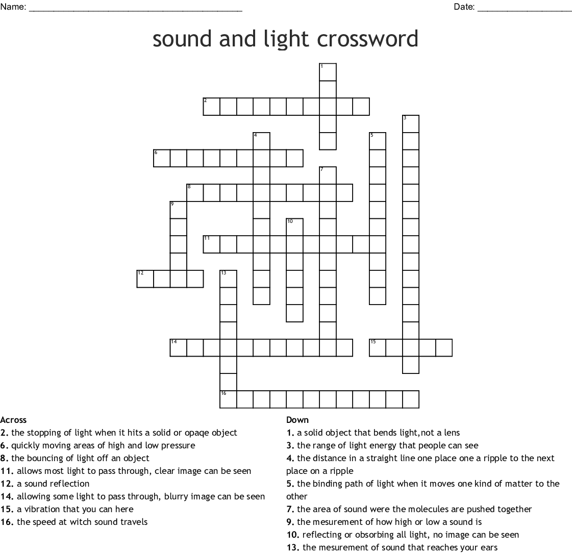 Science - Light & Sound Crossword - WordMint