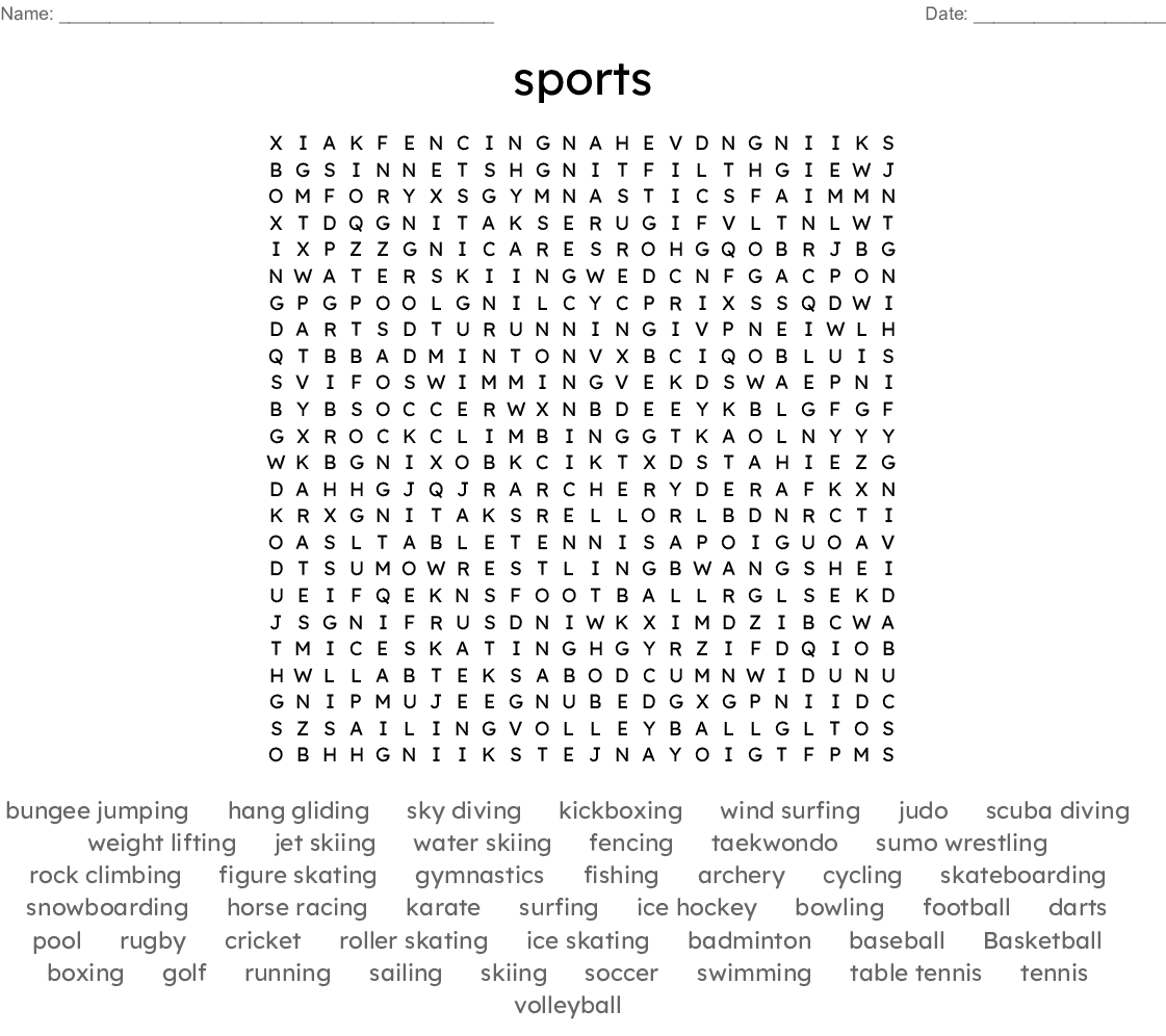Extreme Sports Word Search - WordMint