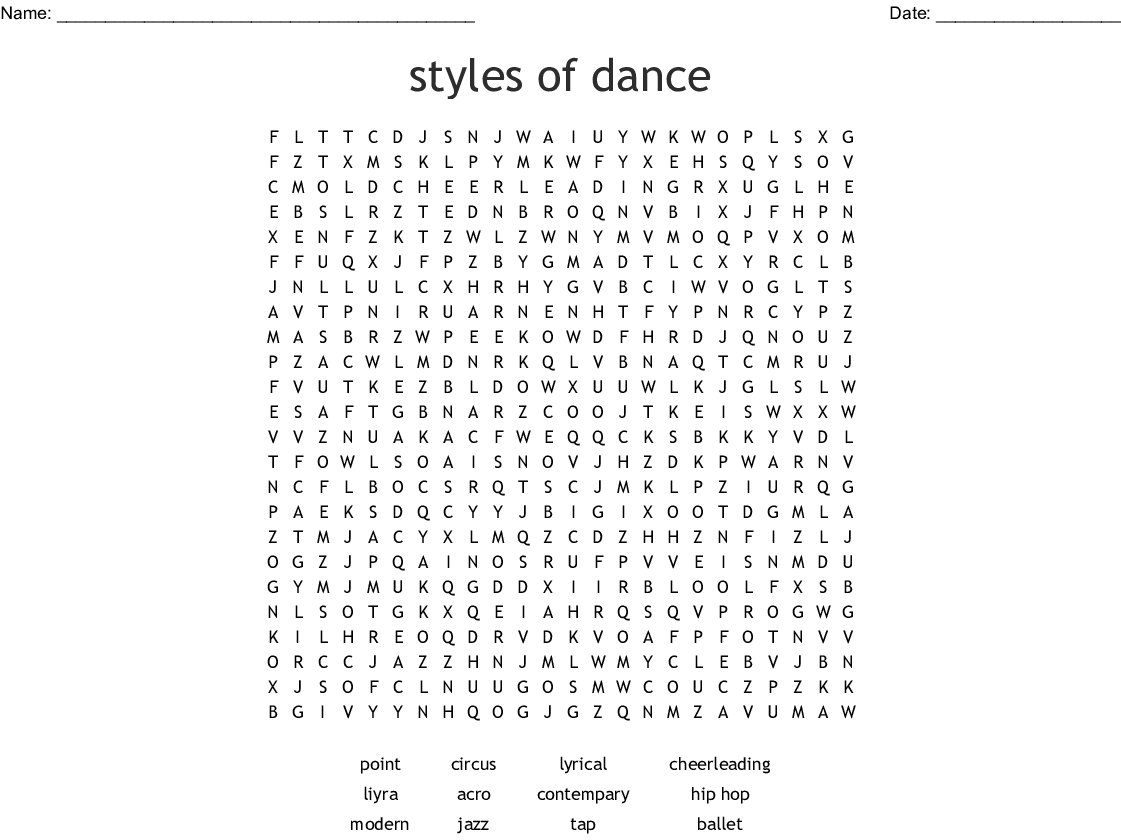 Styles Of Dance Word Search Wordmint