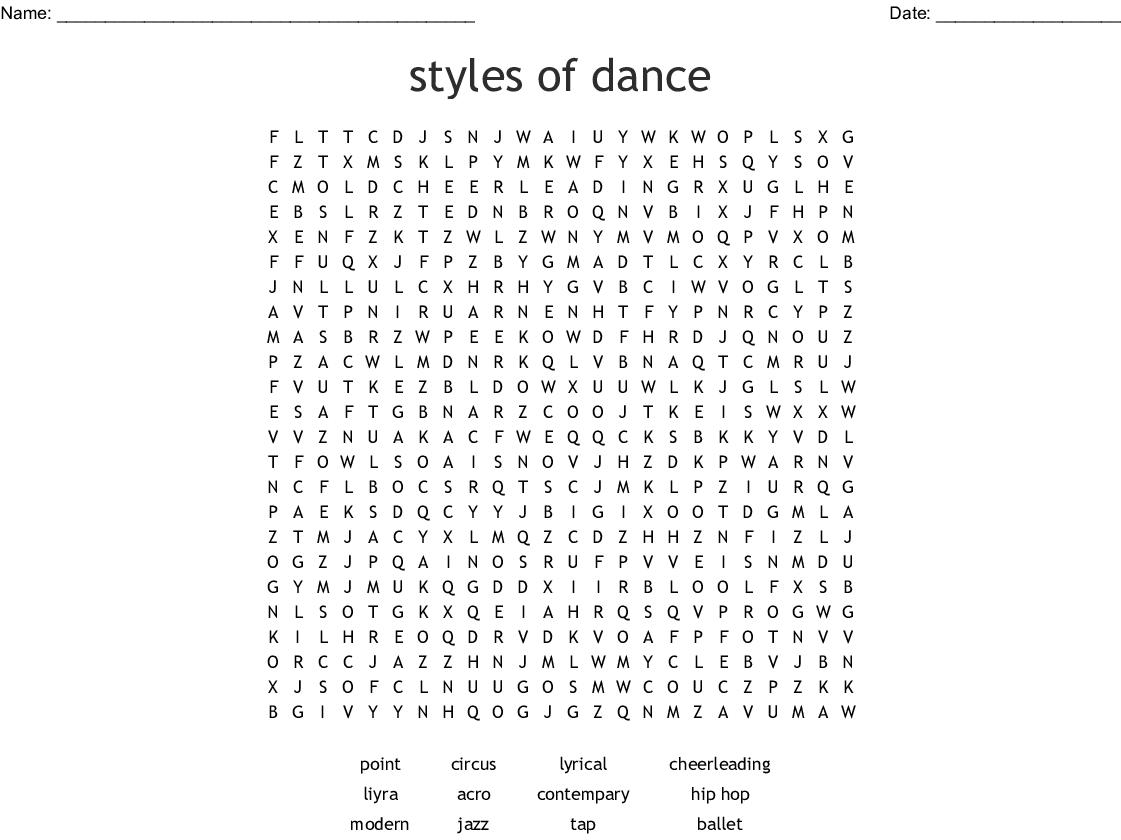 Modern Dance Word Search Wordmint