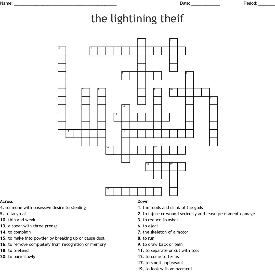 The Lightning Thief Crossword Puzzle   WordMint