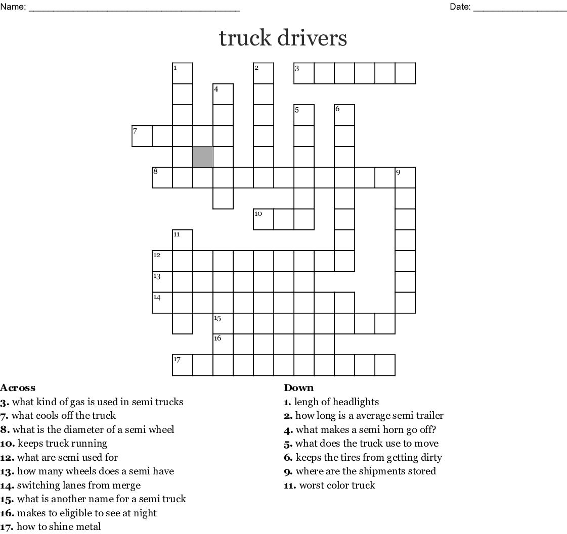Trucks Crossword Wordmint