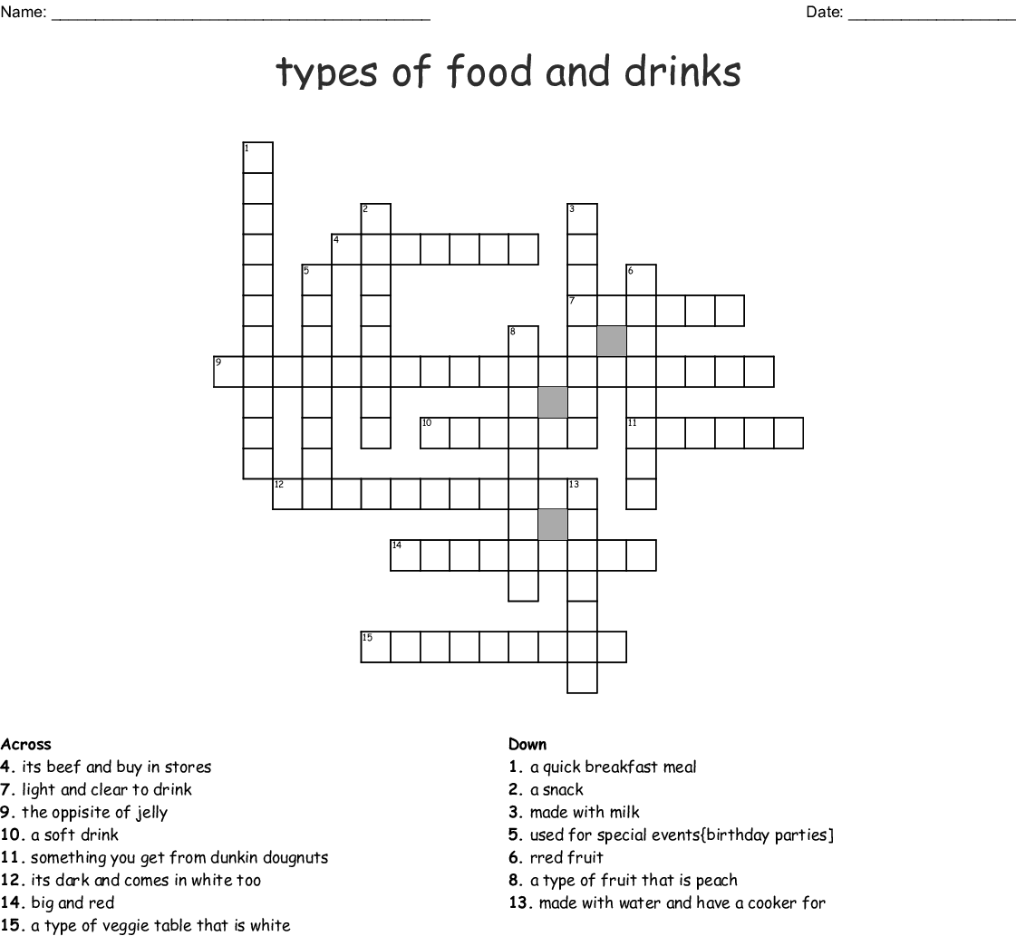 drinks drink types crossword word wordmint