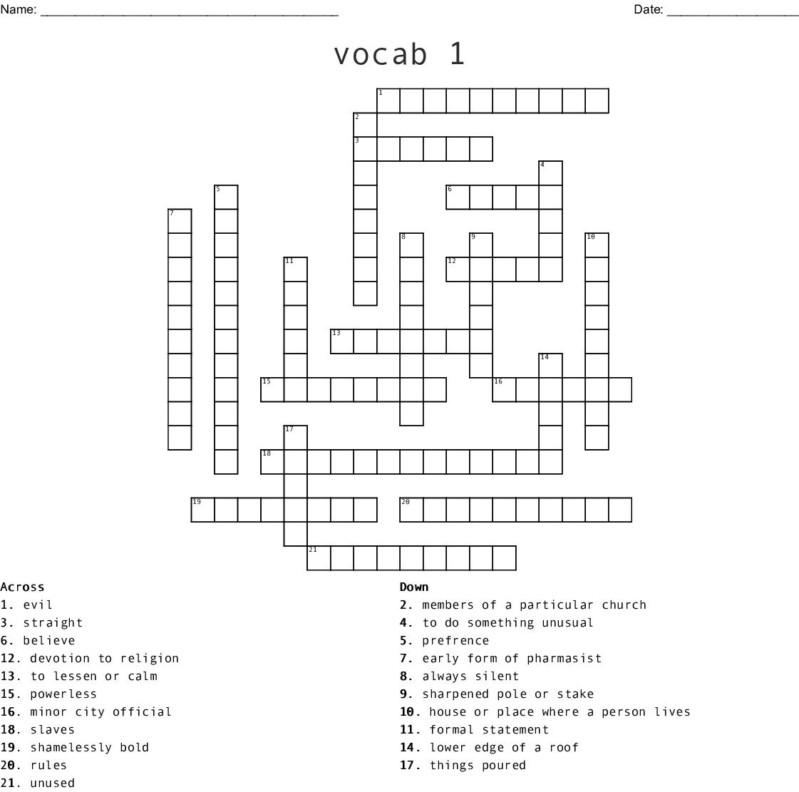 To Kill A Mockingbird Ch 1 Vocab Crossword Wordmint