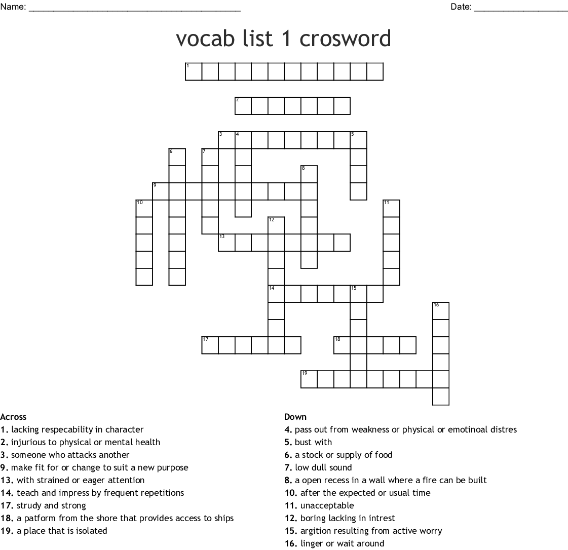 Vocabulary List 1# Crossword - WordMint