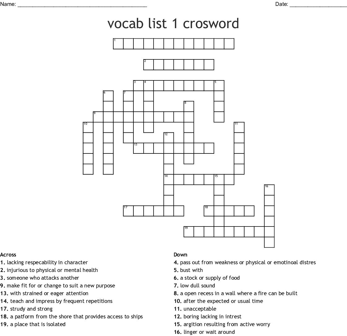 Vocabulary List 1 Crossword Wordmint