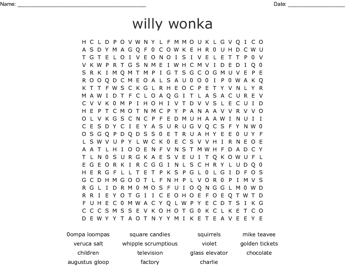 willy wonka Word Search - WordMint